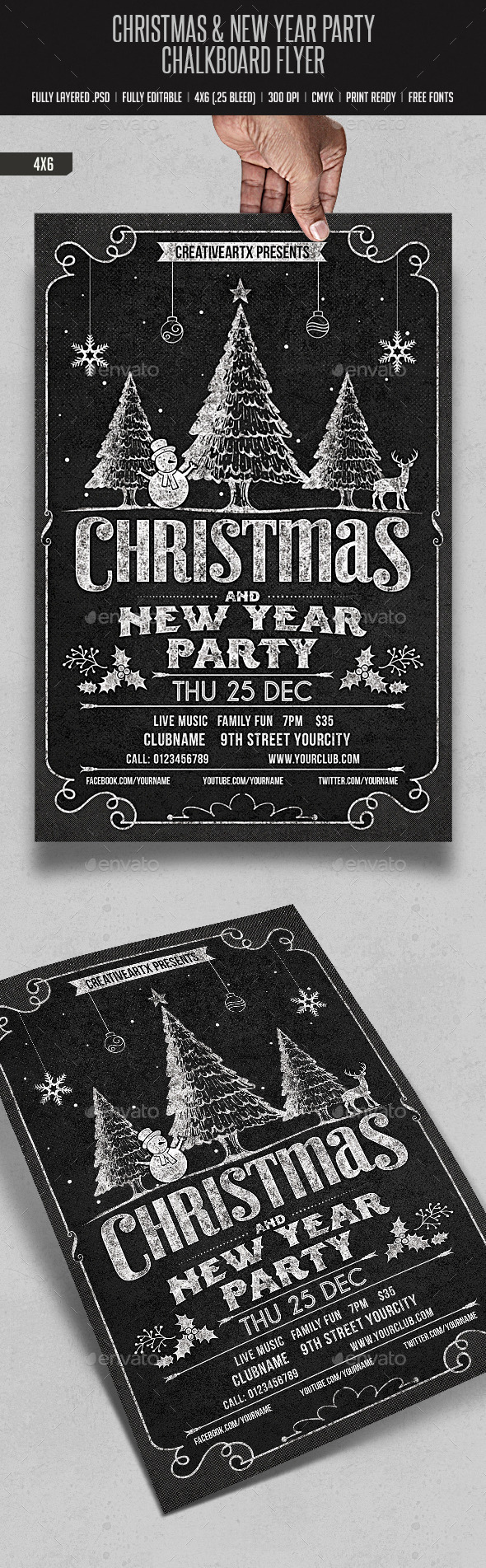 GraphicRiver Christmas & New Year Party Chalk Board Flyer 9469936
