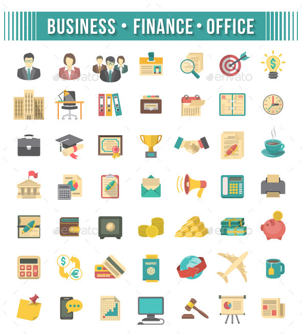 GraphicRiver Flat Business and Financial Icons Set 9469969