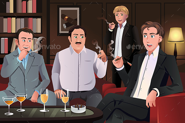 GraphicRiver People in a Cigar Lounge 9470076