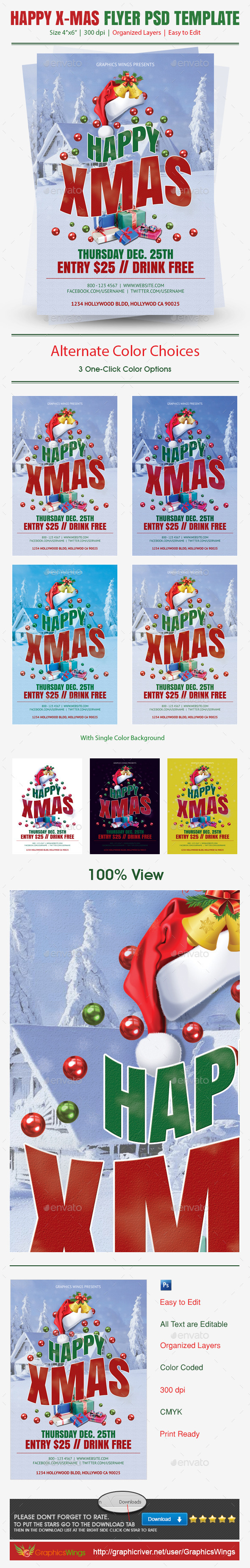GraphicRiver Happy Xmas Flyer PSD Template 9470077