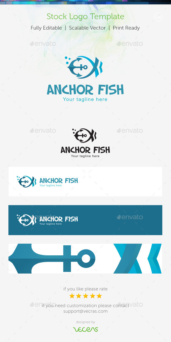 GraphicRiver Anchor Fish Stock Logo Template 9470124
