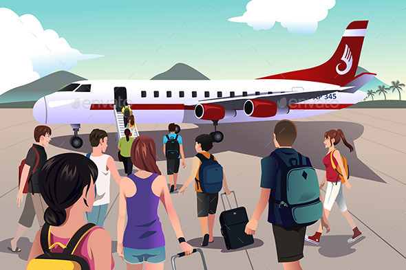 GraphicRiver Tourists Boarding on a Plane 9470287