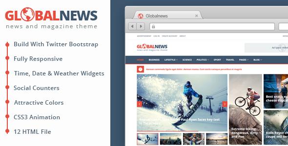 ThemeForest Globalnews News & Magazine HTML5 Template 9470500