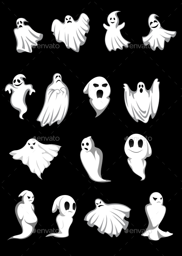 GraphicRiver White Halloween Ghosts 9470530