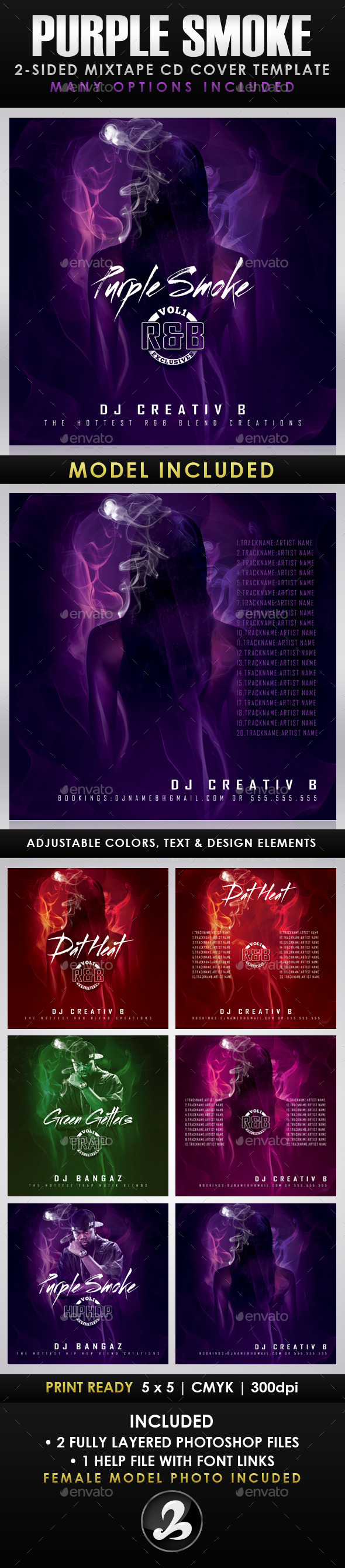 GraphicRiver Purple Smoke Mixtape CD Cover Templates 9470534