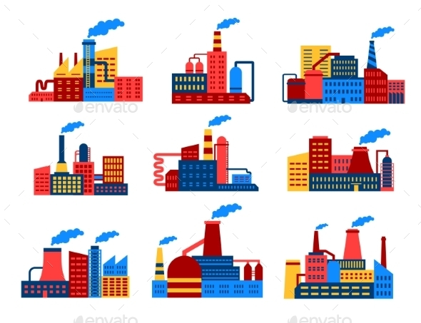 GraphicRiver Industrial Buildings Flat Icons 9470541