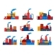 Industrial Buildings Flat Icons - GraphicRiver Item for Sale