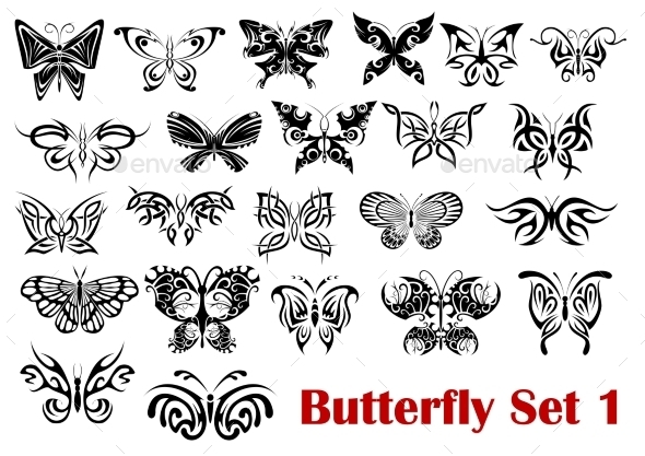 GraphicRiver Butterfly Silhouette Icons 9470573