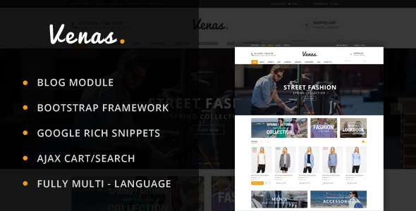 Venas is responsive Prestashop theme and its extremely customizable. This theme is perfect for any type of store. It has hundreds of customization possibilities