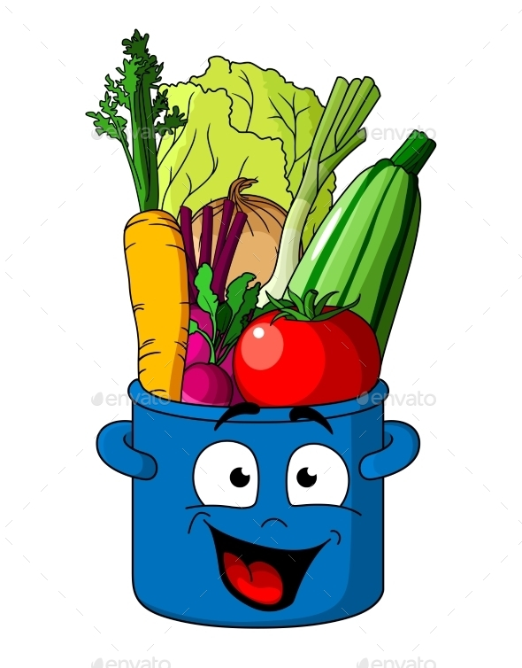 GraphicRiver Healthy Fresh Vegetables in Blue Pot 9470782