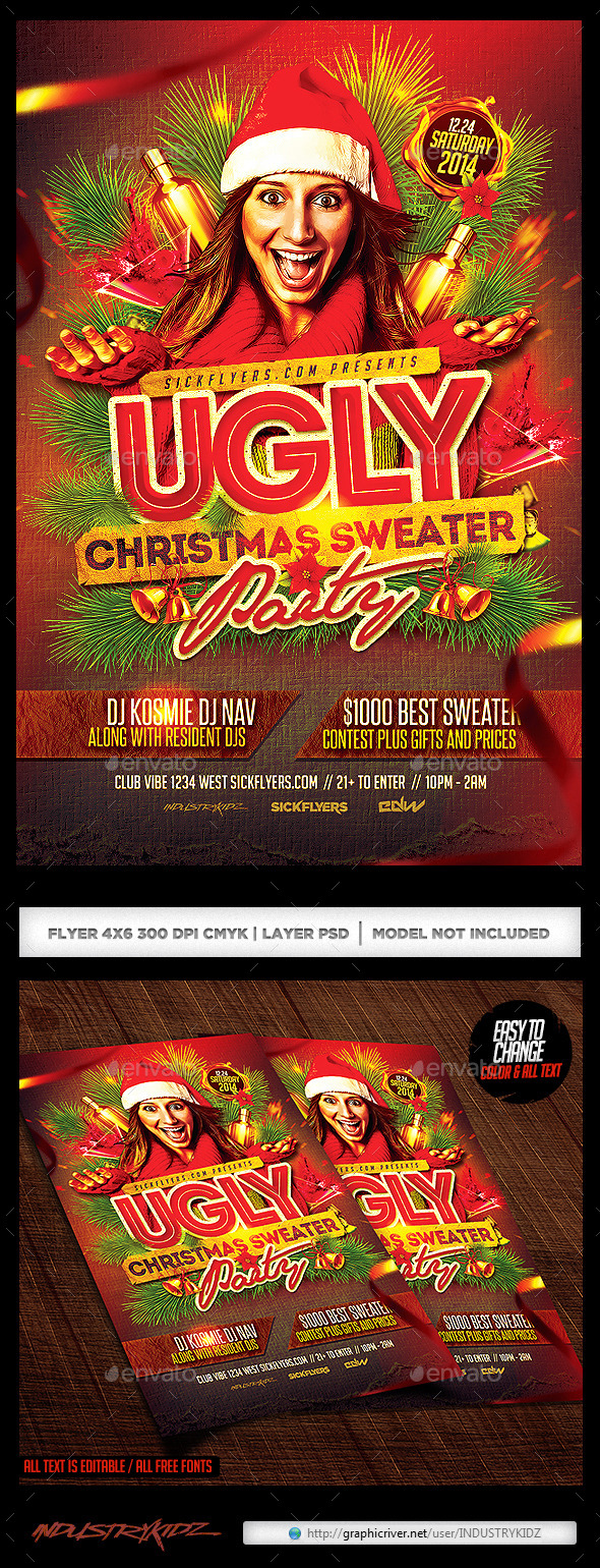 Ugly Christmas Sweater Party Flyer V2