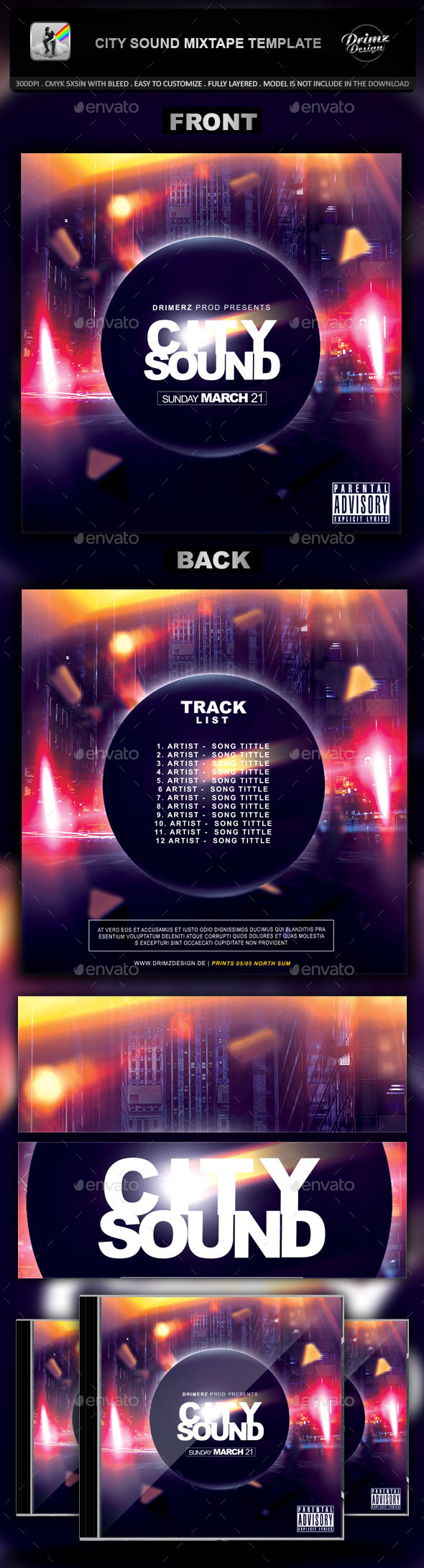 GraphicRiver City Sound Mixtape Template 9471177