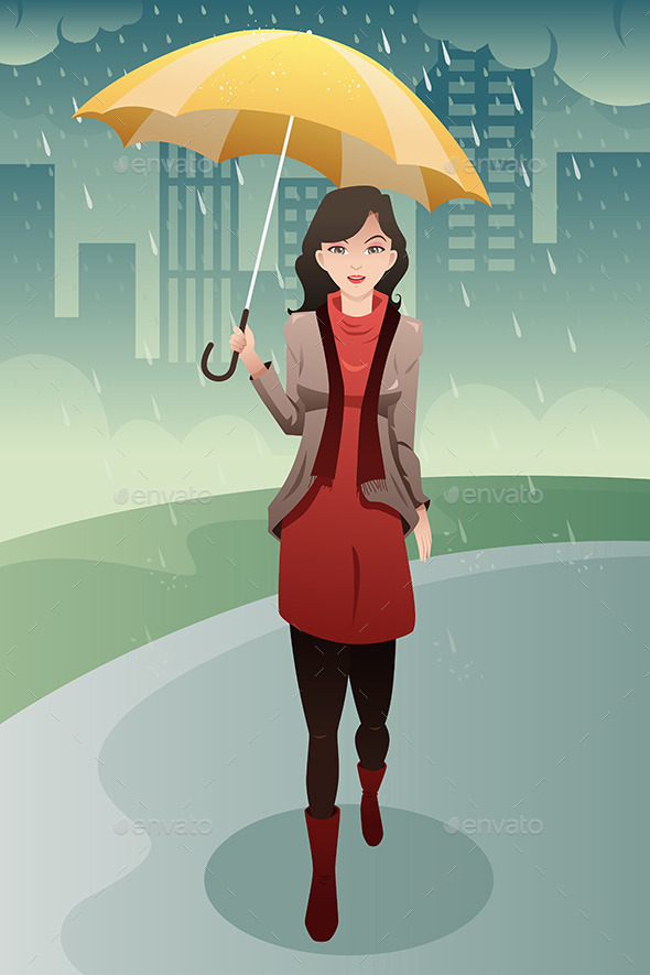 GraphicRiver Woman Walking in the Rain 9471189