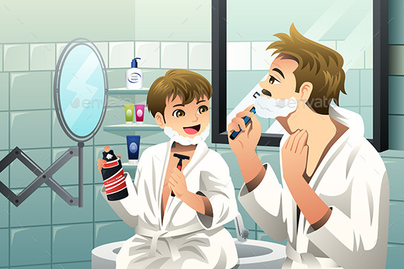 GraphicRiver Father and Son Shaving Together 9471193