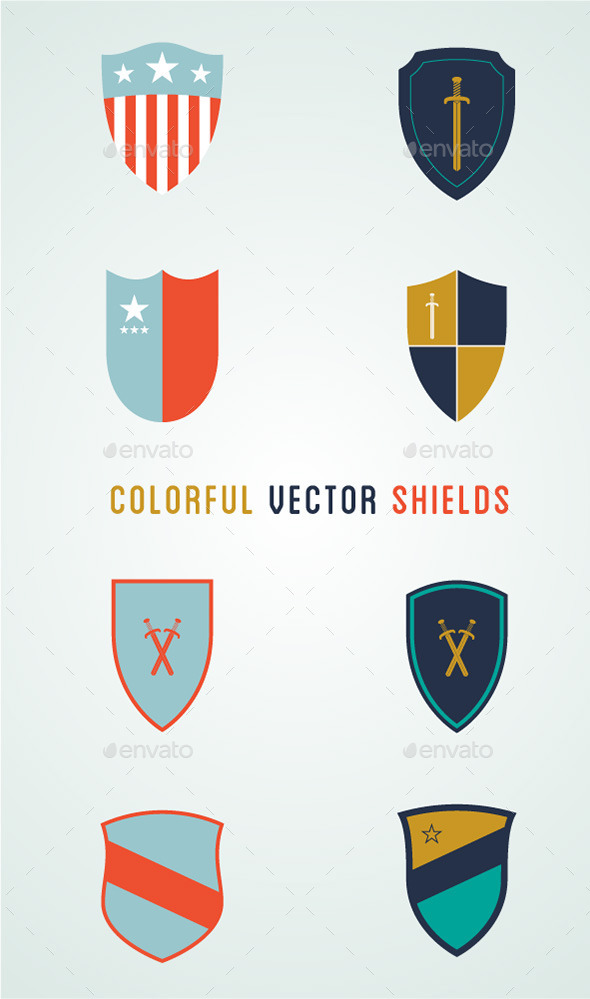 8 Colorful Vector Shields