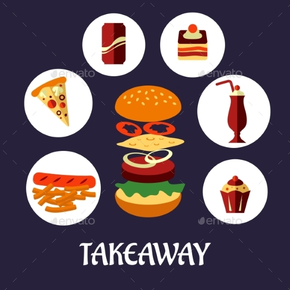 GraphicRiver Takeaway Food Flat Poster Design 9471398