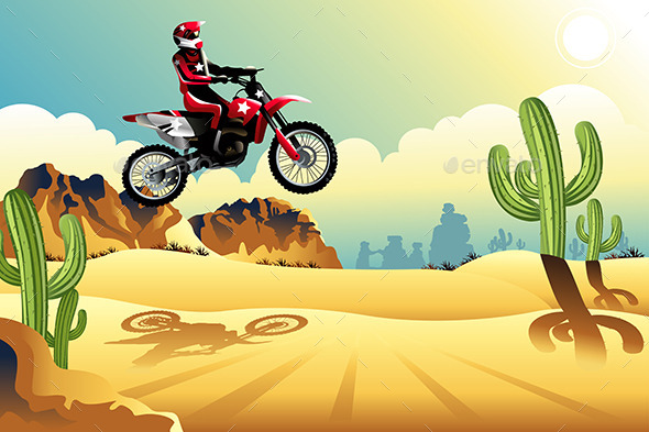 GraphicRiver Motorcross Rider in the Desert 9471413