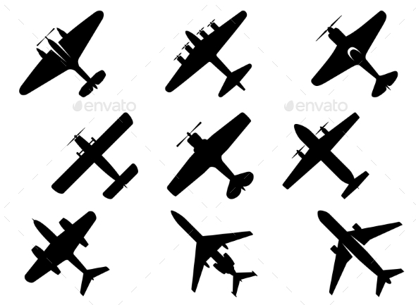GraphicRiver Black Aircraft Silhouette Icons 9471570