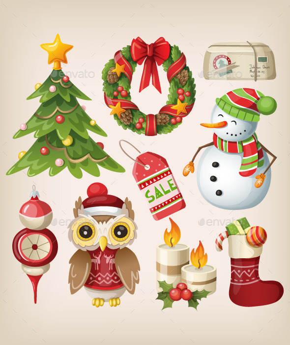 GraphicRiver Set of Christmas Items and Characters 9471632