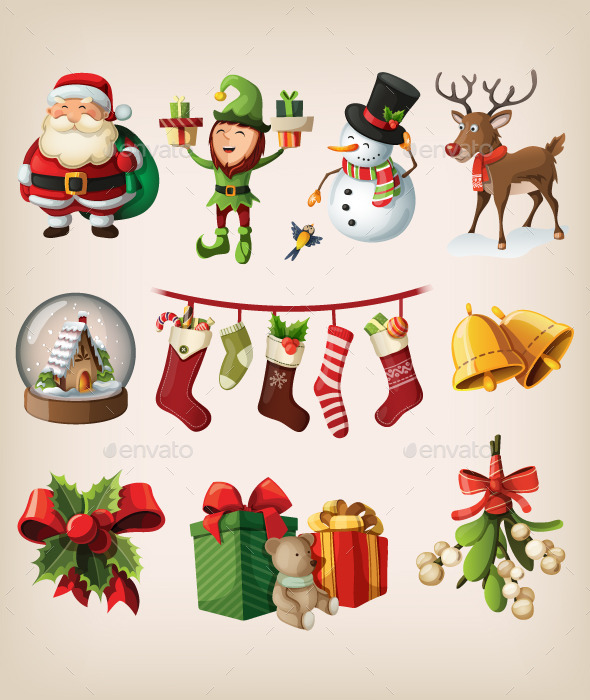 GraphicRiver Set of Christmas Characters and Decorations 9471669