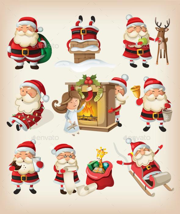GraphicRiver Set of Santa Claus at Christmas 9471793