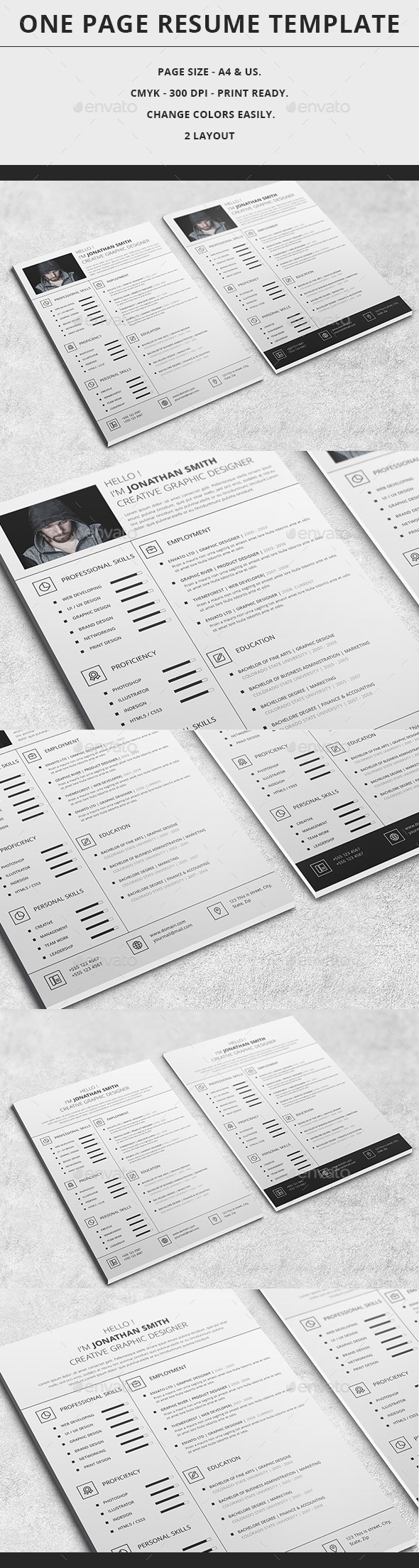 GraphicRiver One Page Resume Template 9472138