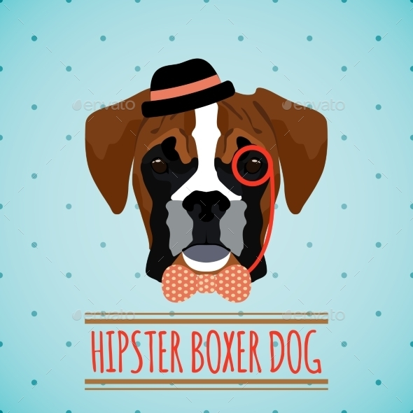 GraphicRiver Hipster Dog Portrait 9472317
