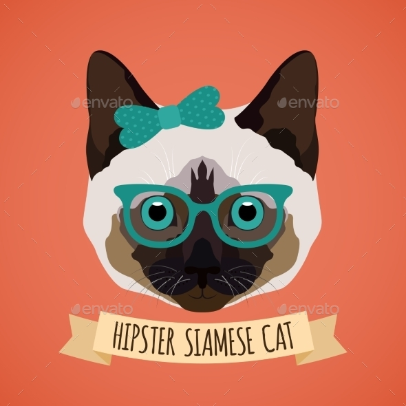 GraphicRiver Hipster Cat Portrait 9472321