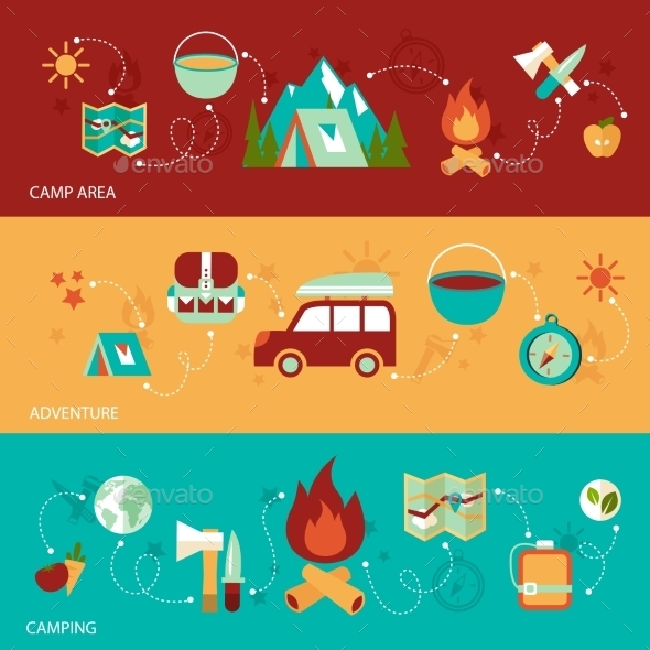 GraphicRiver Camping Flat Banner 9472334