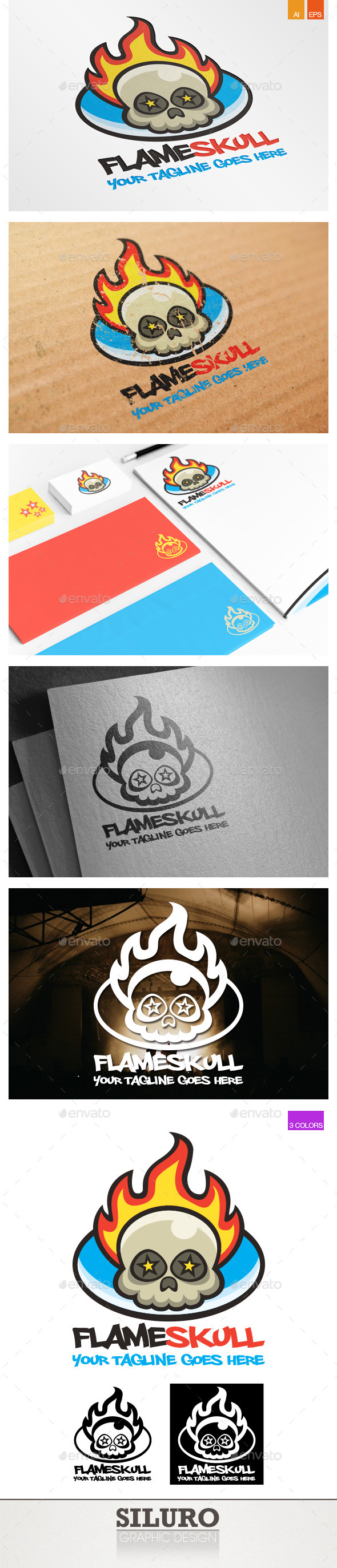 GraphicRiver Flame Skull Logo 9440063