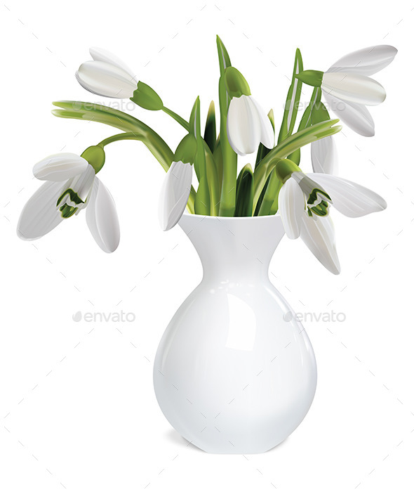 GraphicRiver Bouquet of Snowdrops in a Vase 9472573