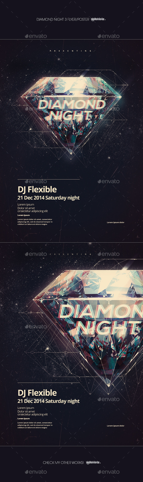 GraphicRiver Diamond Night 3 Party Poster 9472754
