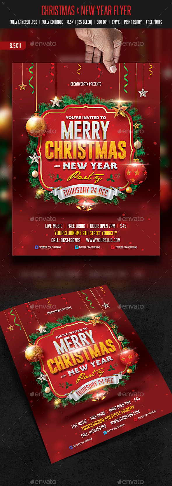 GraphicRiver Christmas & New Year Flyer 9472755