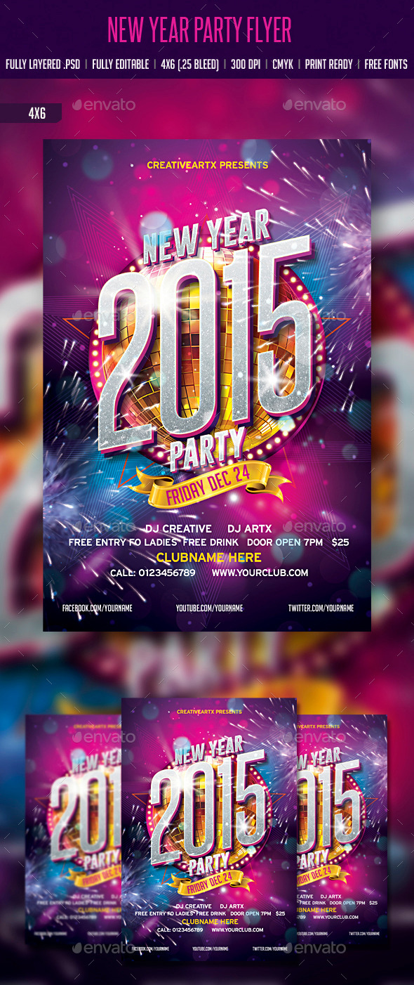 GraphicRiver New Year Party Flyer 9437145