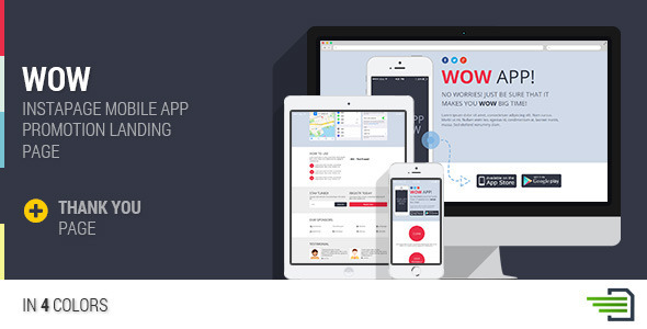 ThemeForest WOW Instapage Mobile App Landing Page 9473112