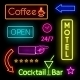 Glowing Neon Lights for Cafe and Motel Signs - GraphicRiver Item for Sale