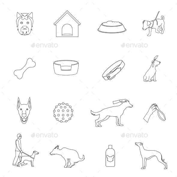 GraphicRiver Dog Icons Outline 9473492