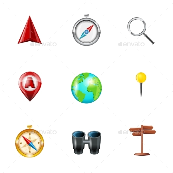 GraphicRiver Navigation Icons Realistic Set 9473503
