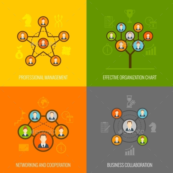 GraphicRiver Connected People Flat Icons Set 9473542