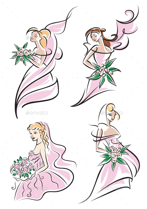 GraphicRiver Beautiful Brides Set 9473643