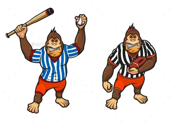 GraphicRiver Cartoon Gorilla Playing Baseball and Rugby 9473671