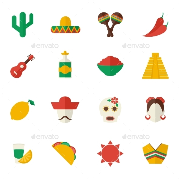 GraphicRiver Mexico Flat Icons Set 9473680