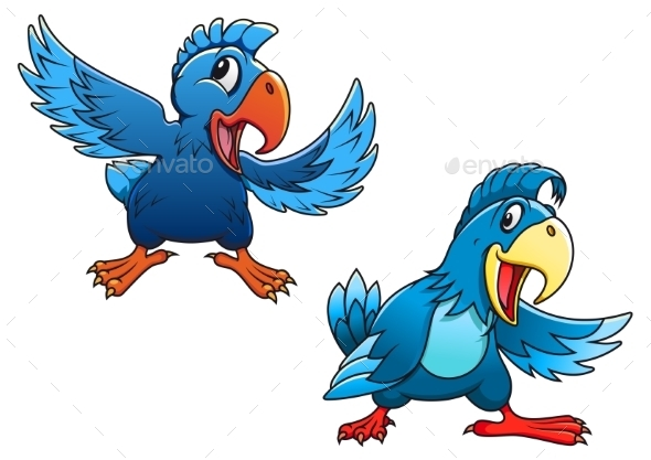 GraphicRiver Blue Cartoon Parrot Birds 9473689
