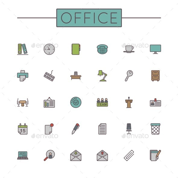 GraphicRiver Vector Colored Office Line Icons 9473731