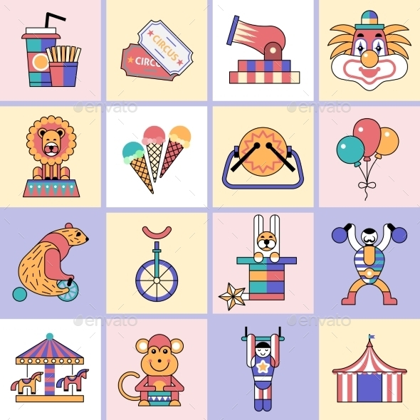 GraphicRiver Circus Icons Set Flat Line 9473888