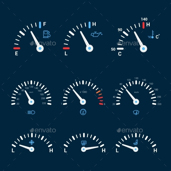 GraphicRiver Speedometer Interface Icons 9473991
