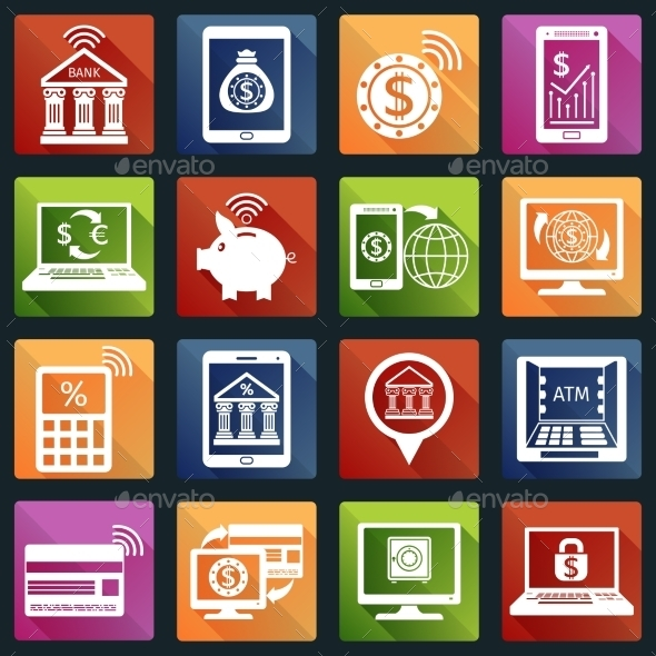 GraphicRiver Mobile Banking Icons White 9474041