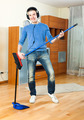 Happy man  with dustpan and brush - PhotoDune Item for Sale
