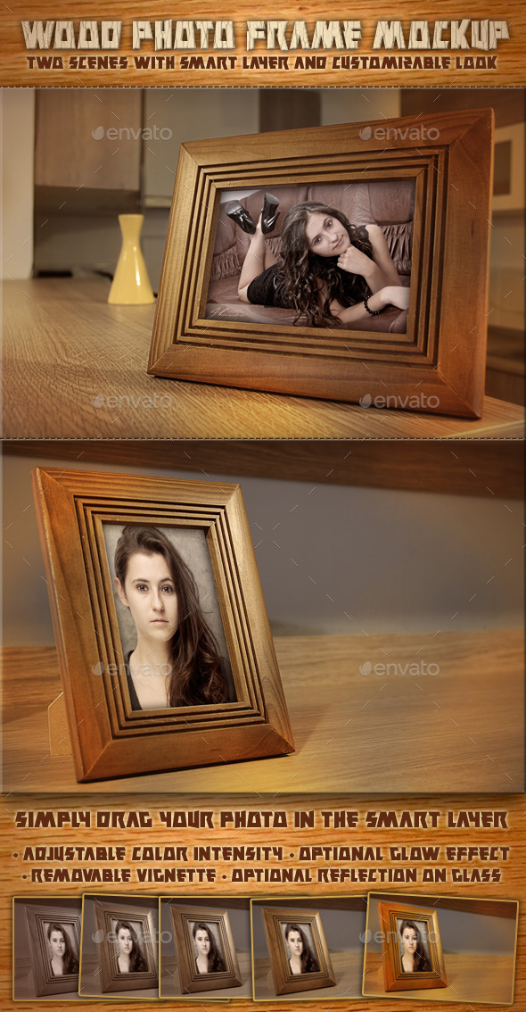 Wood Photo Frame Mockup V.1
