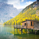 Hut on Braies lake in autumn - PhotoDune Item for Sale
